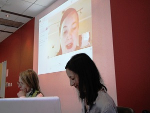 Catherine Hobbs and Linda Morra with Katherine McLeod presenting via Skype